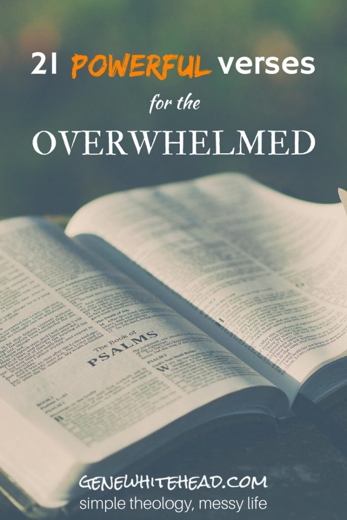 You may already have some encouraging Bible verses you run to when you're overwhelmed. But in case you need some more encouragement, I've lined up 21 powerful Bible verses to equip you when you're feeling overwhelmed. Plus, I'm giving you free printable scripture cards to take with you. #faith #Bible #encouragement #devotions