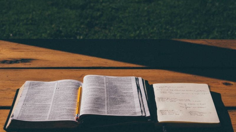 study bible and notebook open on outdoor wooden table