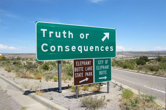 Road sign to Truth or Consequences, New Mexico